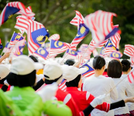 independence day celebration in Malaysia. flags waving